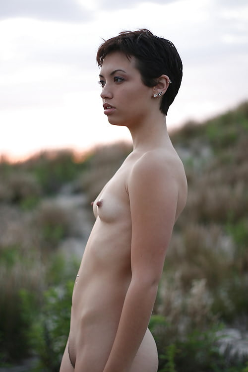 Sexy naked woman black hair glamour stock photo