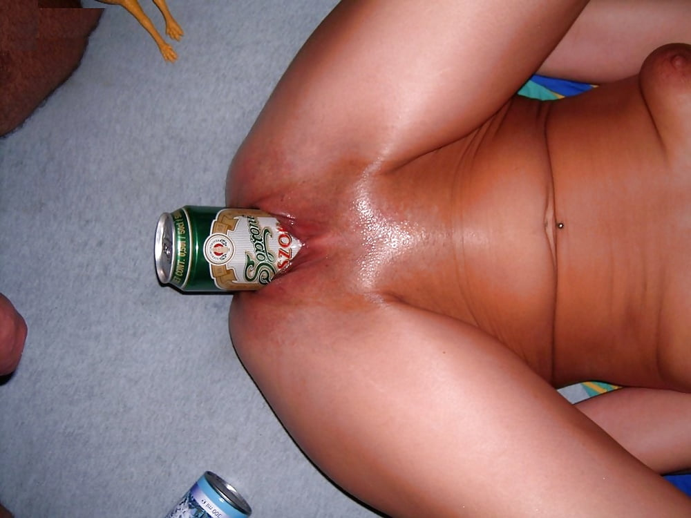 Fucked with bottle in ass cock in pussy