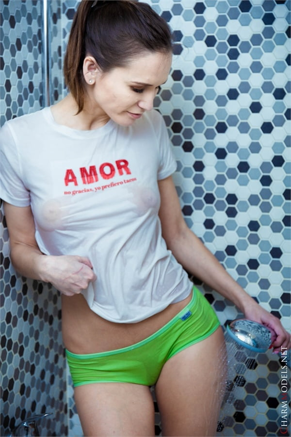 Milena wet tshirt and transparent panties - 16 Pics