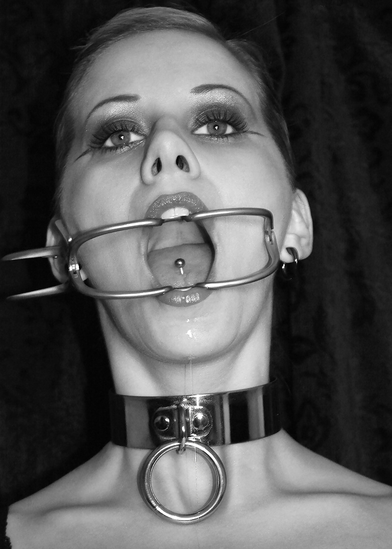 Slut mouth gagged, f dick sausage stuffer