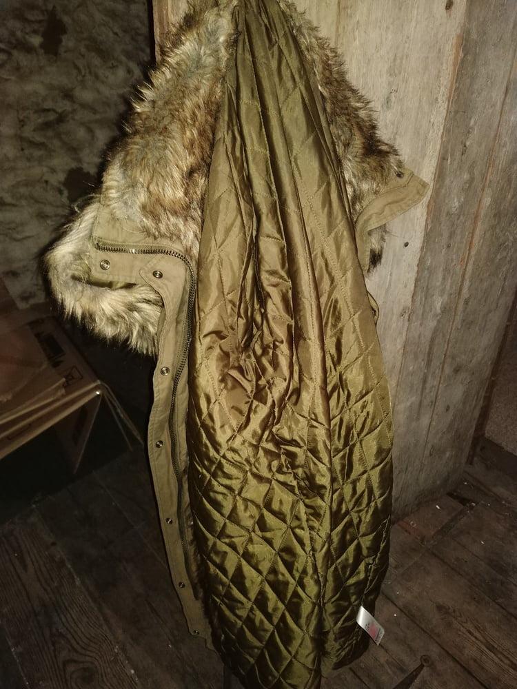 Fucking my Topshop Khaki Fur Hood Parka (Jenna Coleman)