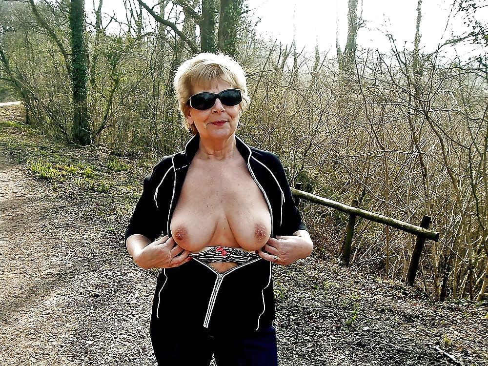 Older woman flashing outdoors and vids, lesbian big titties