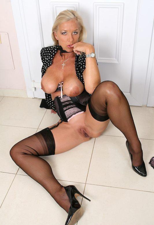Blonde milf black stockings