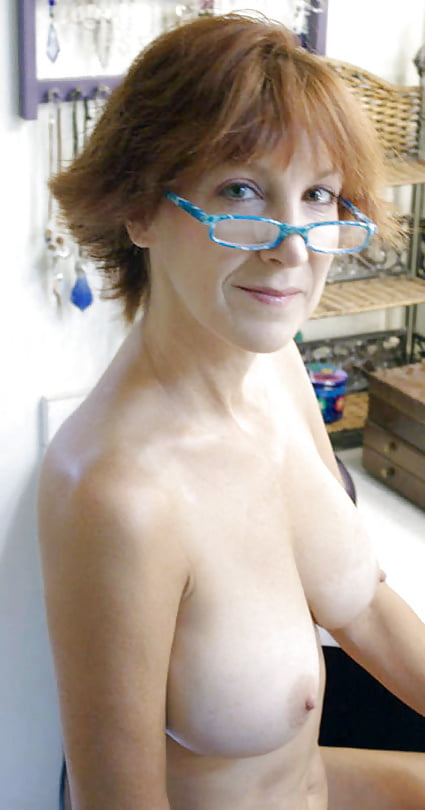 Topless with glasses