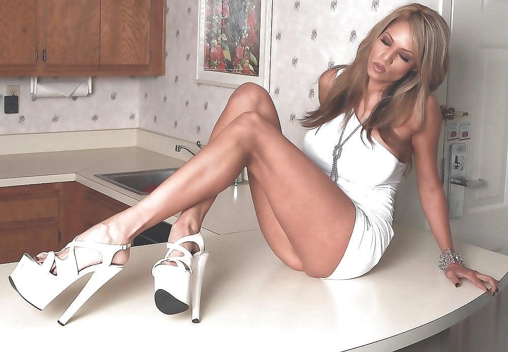 Black platform high heels-4690
