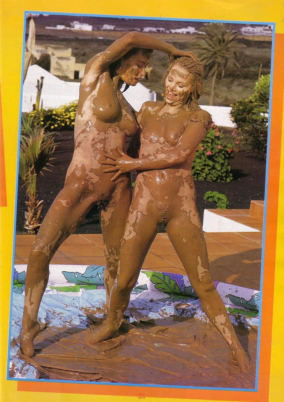 Mud fight nude