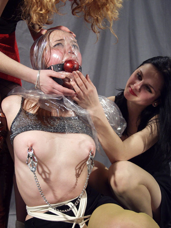 Bondage suffocation with cum pipe