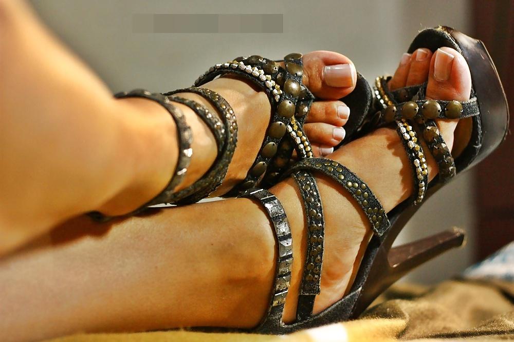 Sexy high heels feet of my slutty friend hot boobs