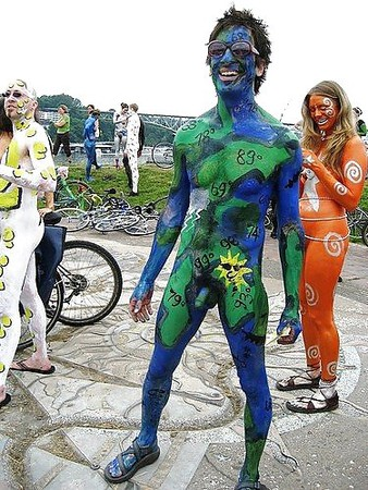 Hot Body Paint Nude Bicycle Race Scenes
