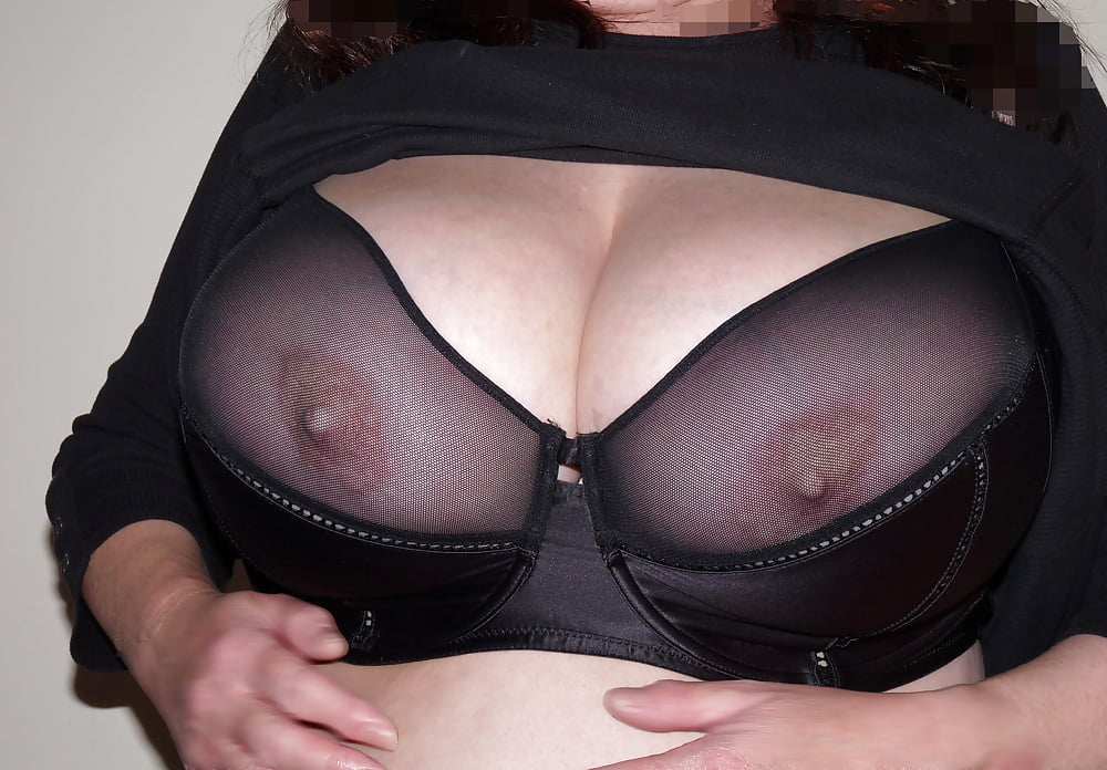 Sexy sheer bra holds big tits erotically