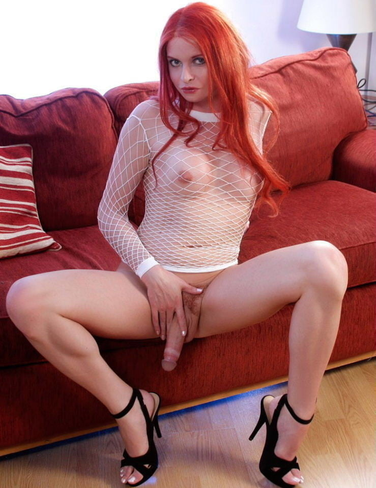 Cute ginger tranny camgirl toys her ass with a dildo