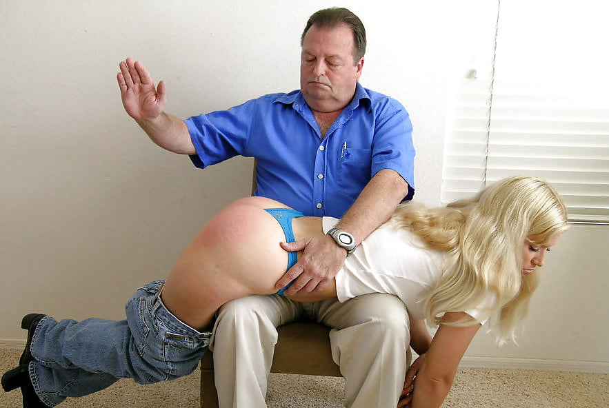 Girl spanked on jeans