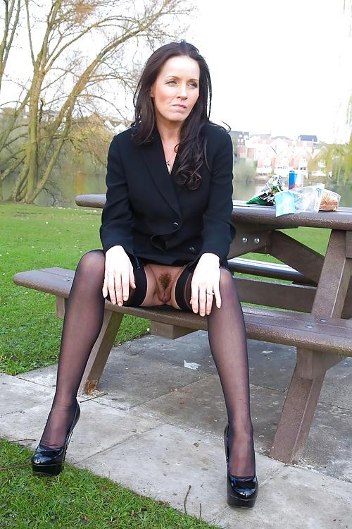 Public upskirt no panties pantyhose