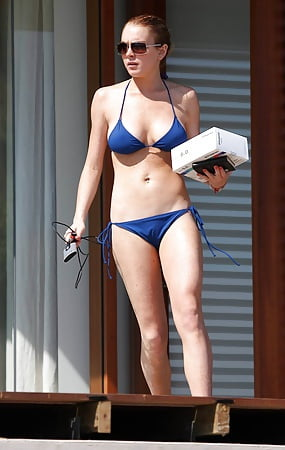 blue bikini Lohan