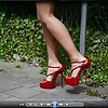 Walking in most sexy Red high heels & minidress no panty
