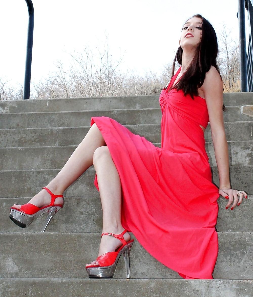 Black platform high heels-3316