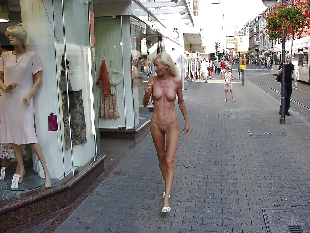 Mature naked woman in public black man