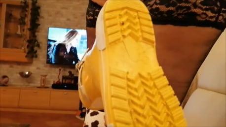 Footjob in Rubber Boots CBT - 10 Pics