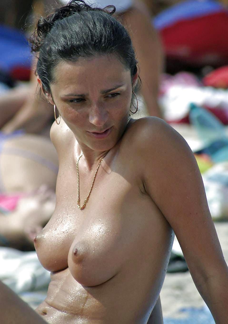 Candid beach tits
