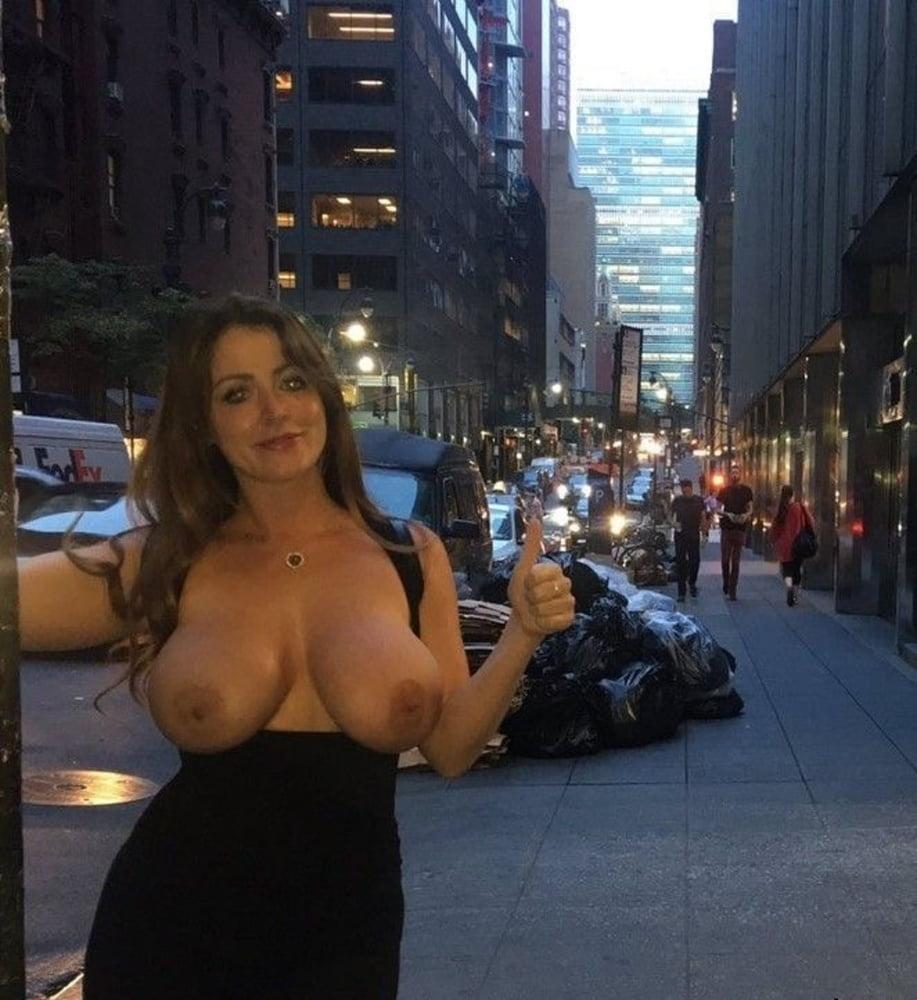 Nude boobs pressed in public