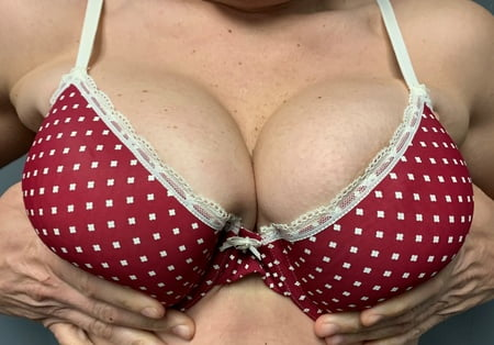 red bra with white polka dots