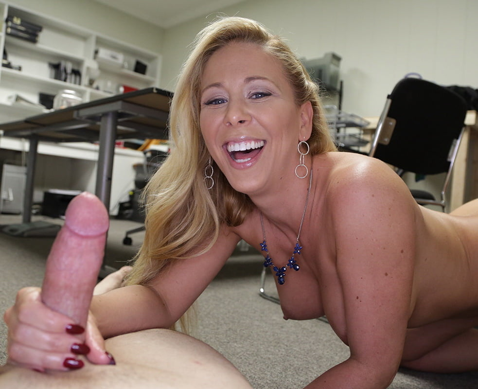 Hot and sexy milf gives the outstanding pov handjob to a guy, free porn