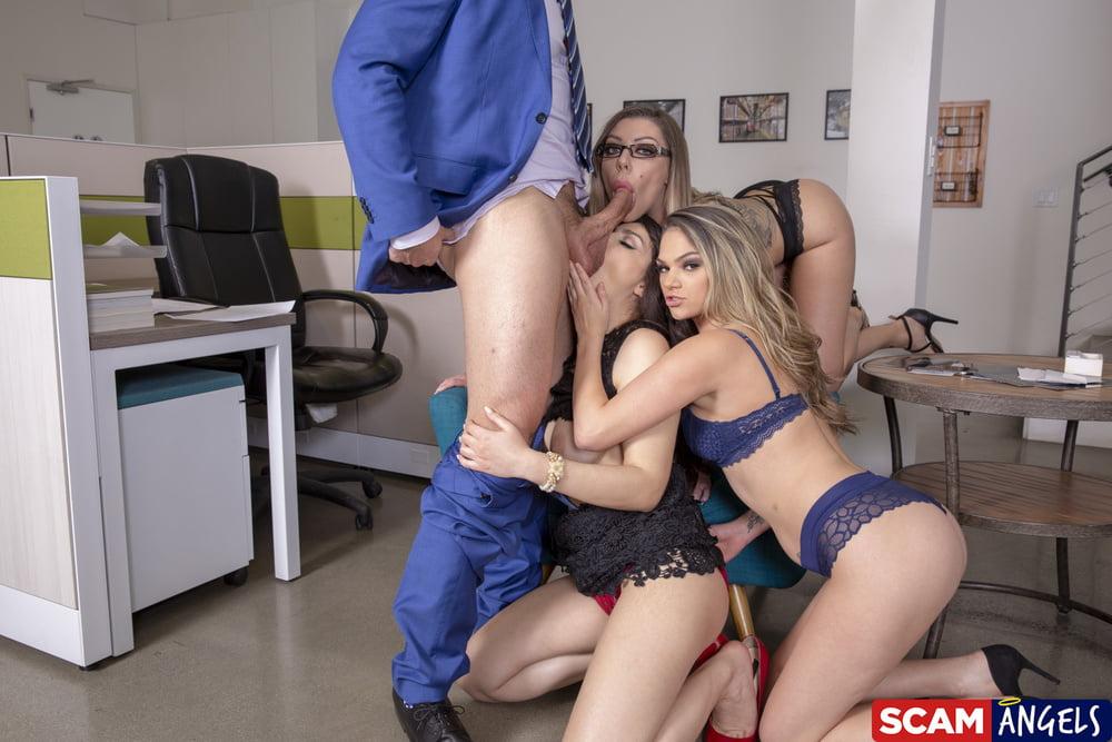 Big Tits Secretary Sluts Office Foursome Orgy