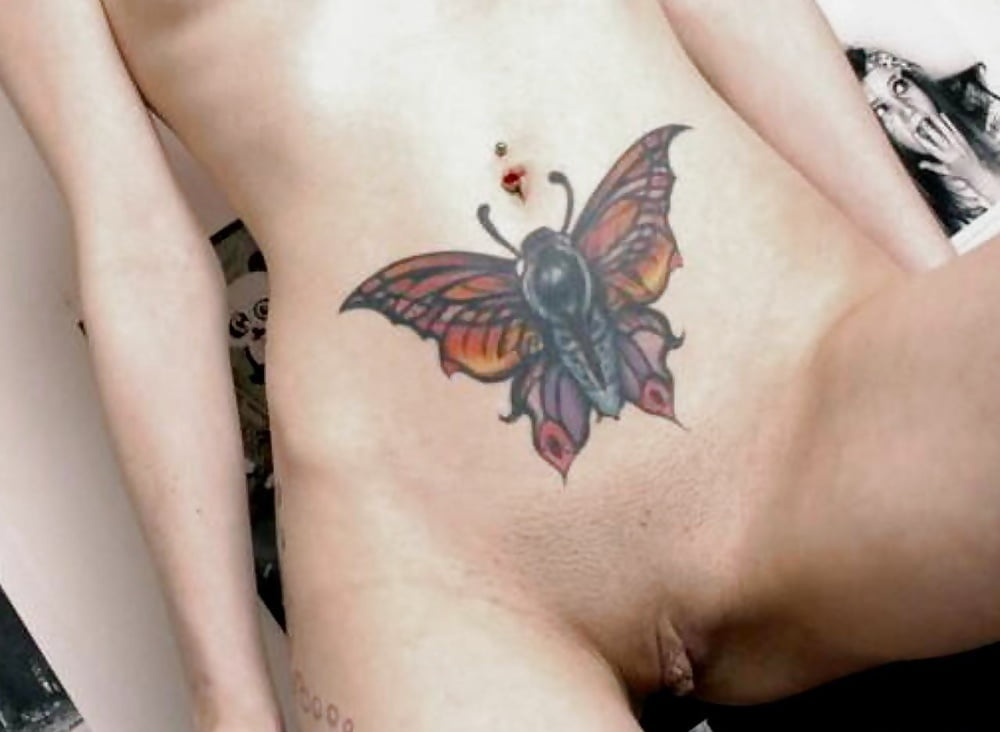 Girl With Butterfly Tattoo On Her Pussy