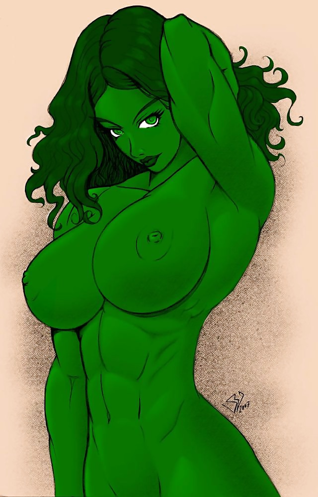 She hulk nude original custom drawing sketch card pinup comic aceo marvel image