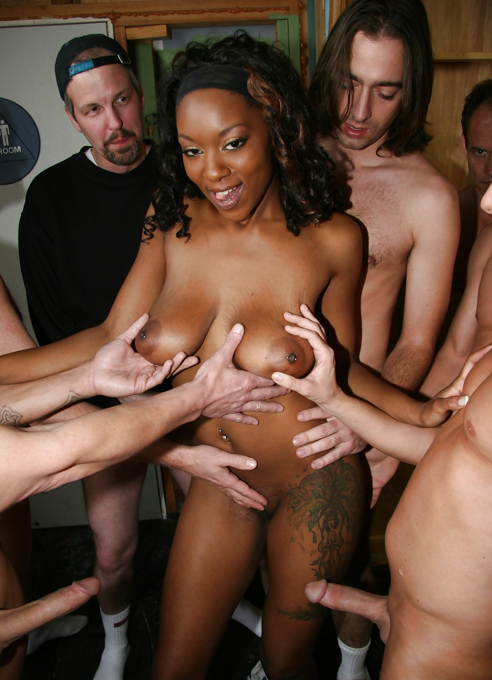 Cheerleaders gangbang college black