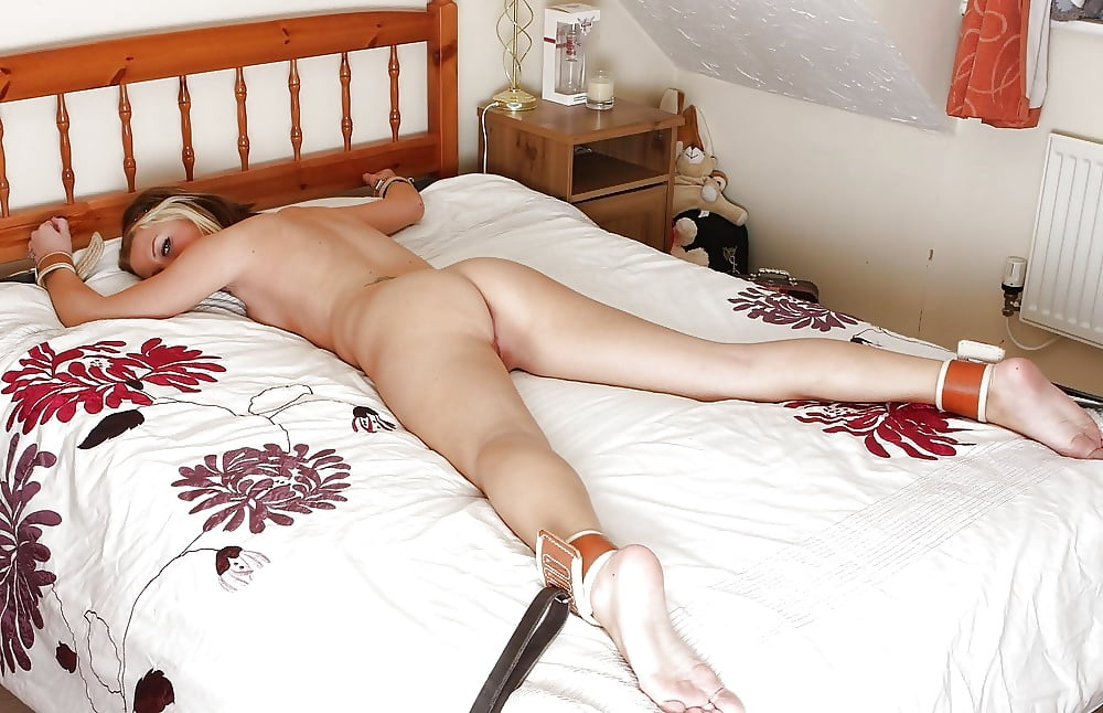Naked Girl Tied Up On Bed With Dildo In Pussy