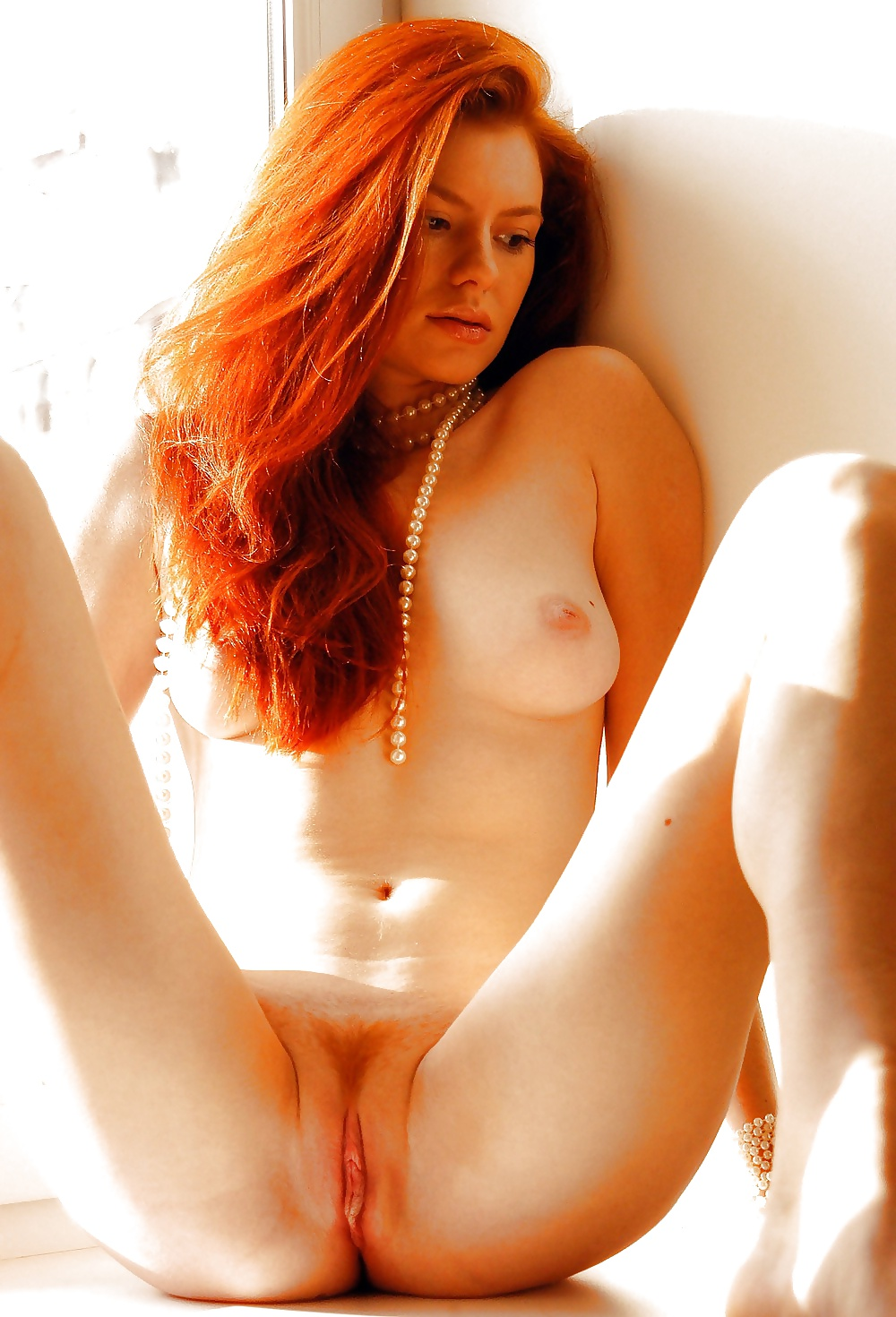 Sweet ginger girl with chic tits on bed russian sexy girls