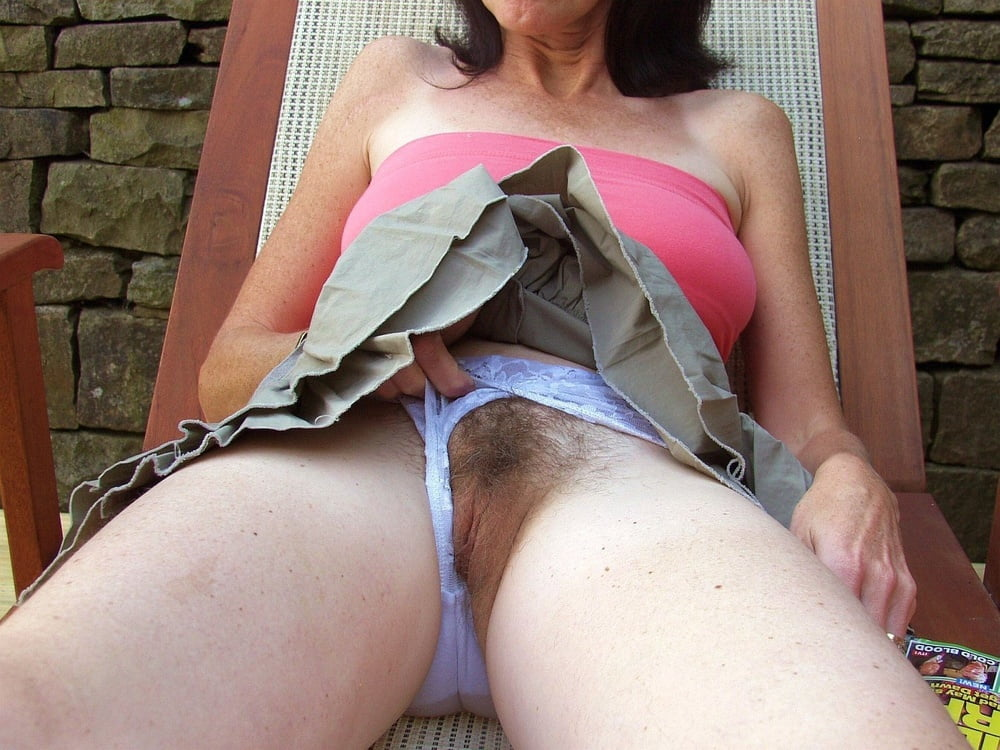 Mature pussy under pants, nude tattoo in the breast