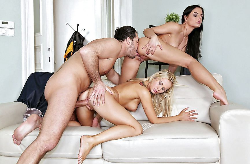 Three guys look for best ways to have fun with a girl in a foursome