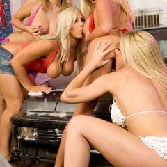 Wild Big Tit Lesbian Sex In A Car Wash