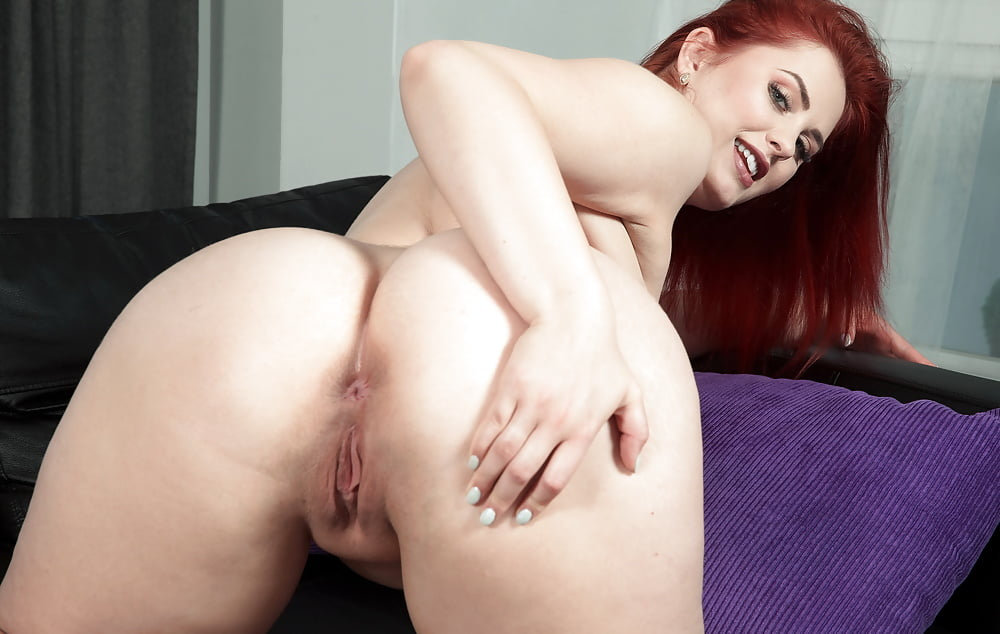 Women Redhead Ass Couch Black Panties Kneeling Topless Boobs Pussyspace 1