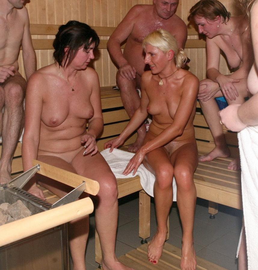 Mixed nude sauna mature