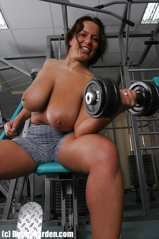 Braless babe working out with perky tits