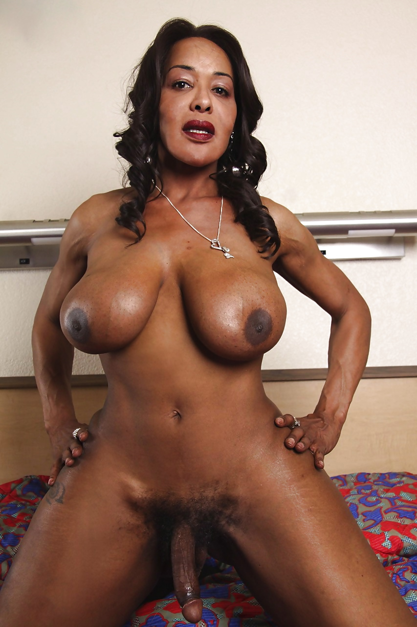 Big tit black shemale shows off her smooth cock