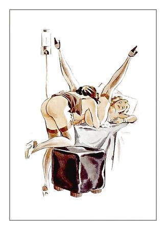 Vintage enema punishment drawings