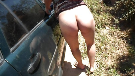Wife big ass outside car