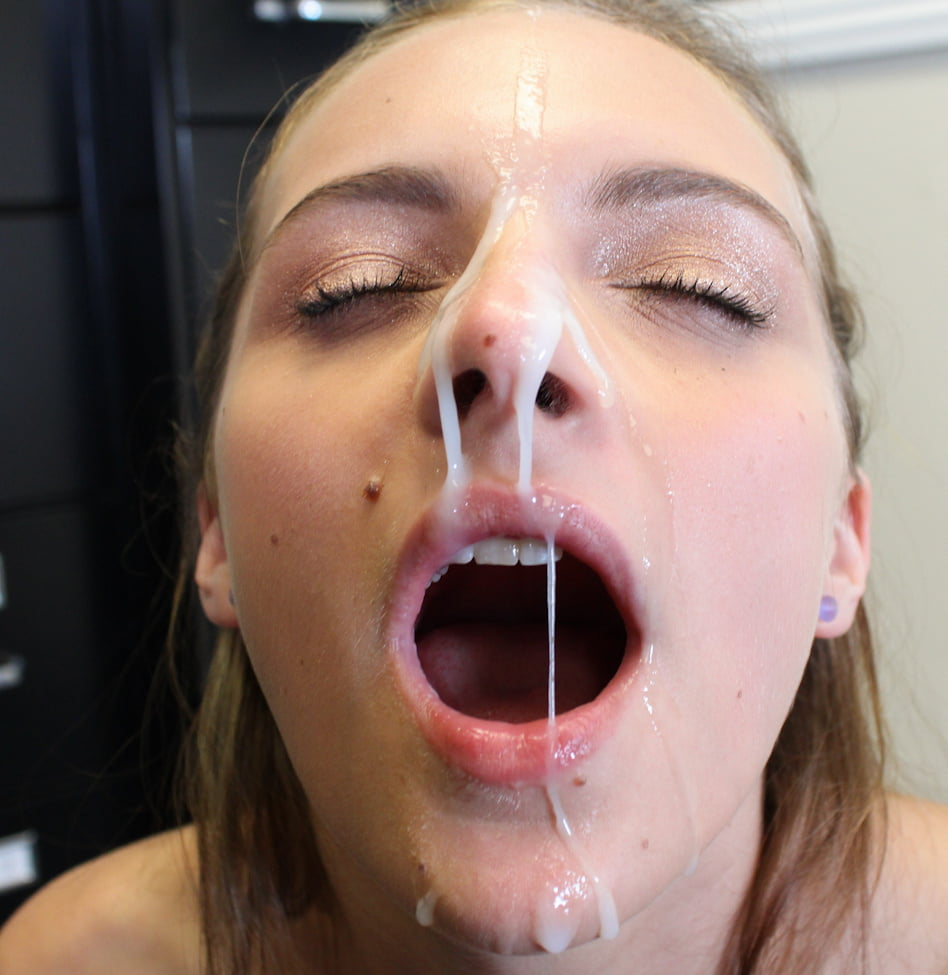 Streaks of cum on her face porn pic