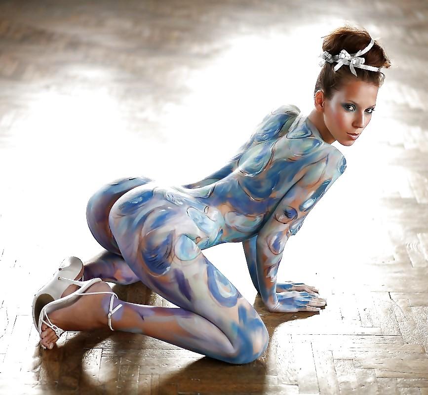 Nude body painted women bending over — photo 5