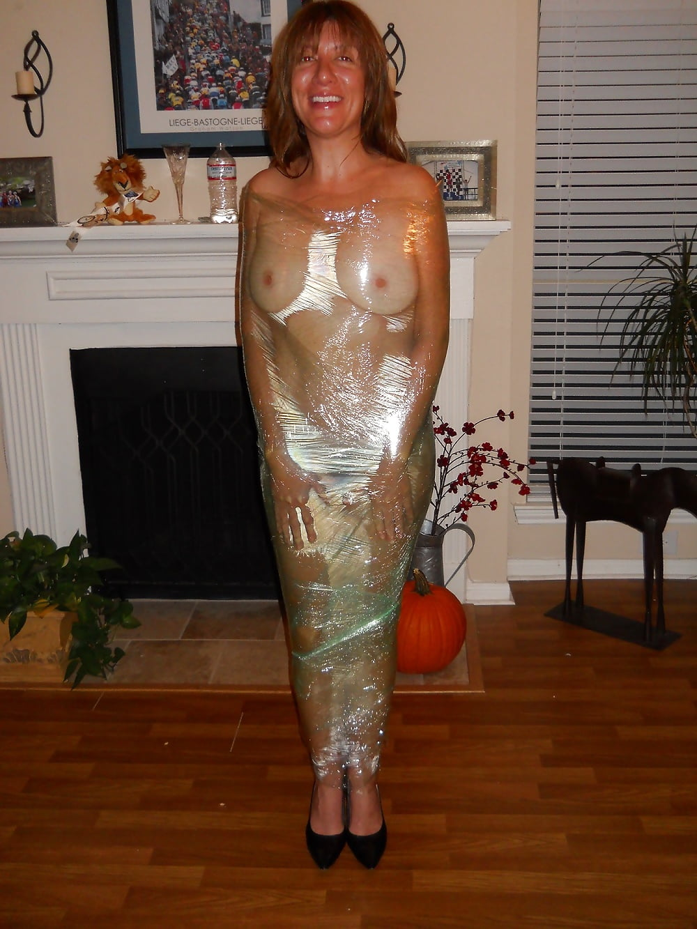 Callista amateur model wrapped up in saran wrap