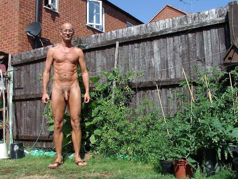 Nude girl on a patio