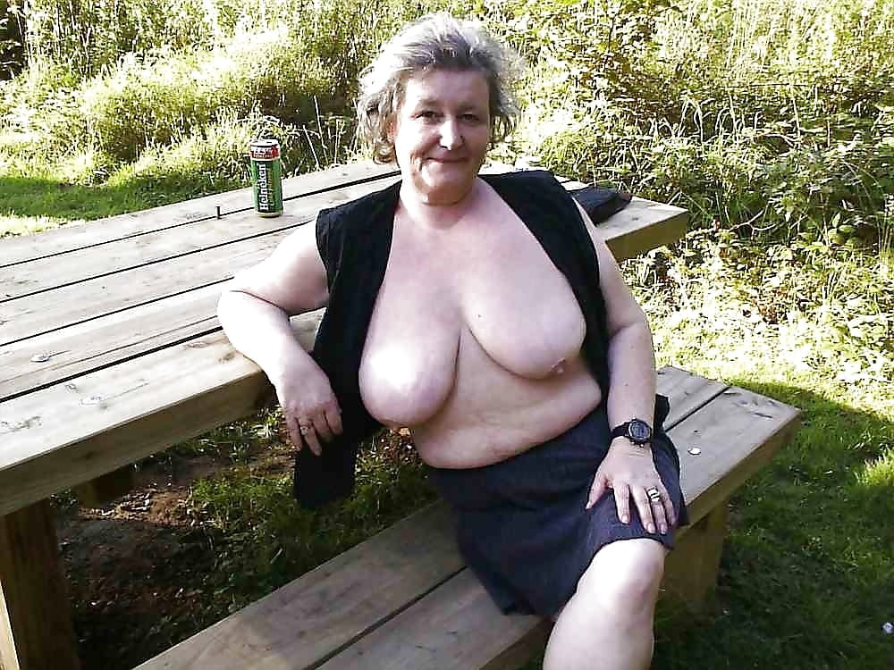 Older woman flashing outdoors and vids — pic 5