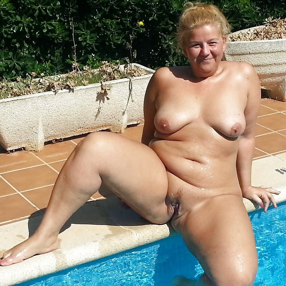 Big tits milf by pool