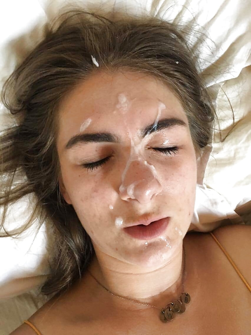 Leaked cum on her face — 3