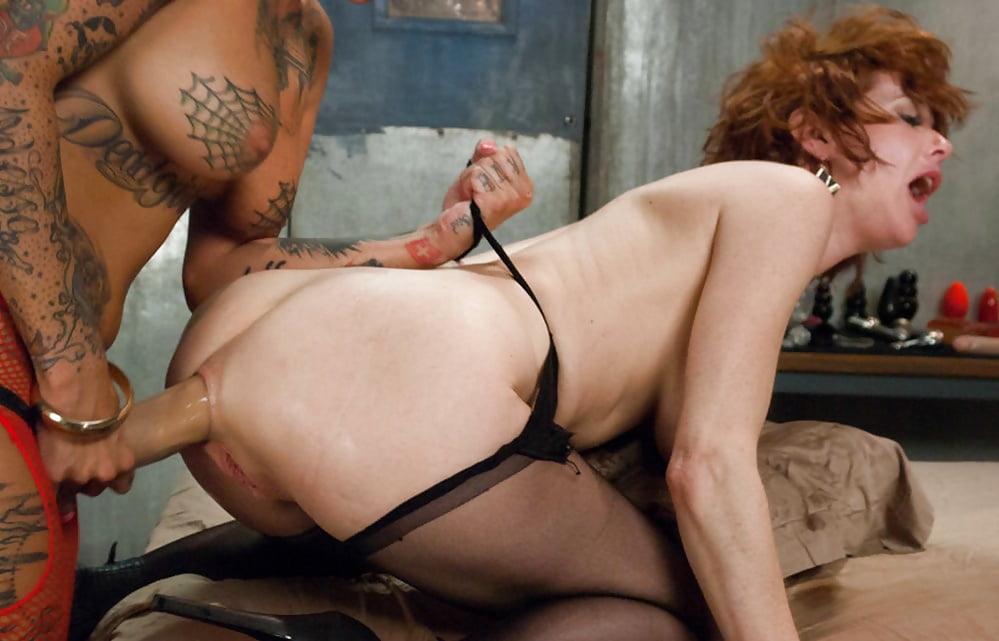 Rough lesbian dildo sex